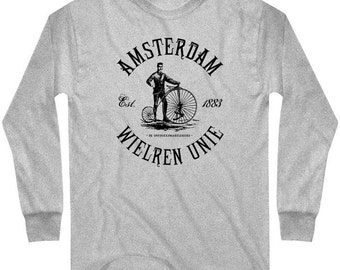 LS Amsterdam Bicycle Club Tee - Long Sleeve T-shirt - Men and Kids - Netherlands Cycling - S M L XL 2x 3x 4x - 4 Colors