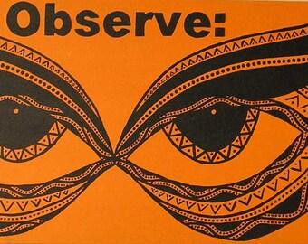 Observe wall art, text wall art, eyes wall art, observe art, observe painting, text art, text painting, eyes art, eyes painting orange black