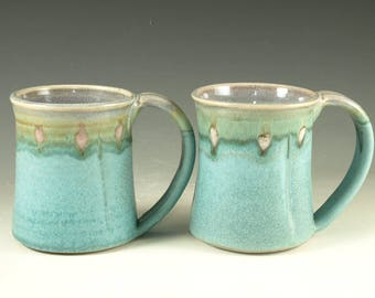 Pair of Coffee Mugs Cup ,large ceramic mugs with large Handle, turquoise,  wheel thown (20oz) -- Perfect Hot & Chocolate