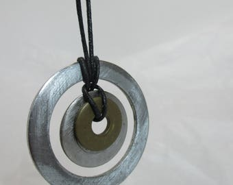 Necklace handmade of recycled parts, metal.