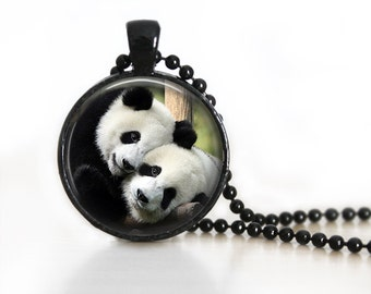 Panda Glass Pendant, Photo Glass Necklace, Glass Keychain