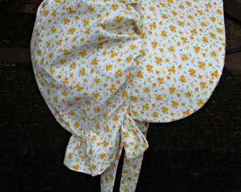 "Girls Pioneer bonnet..Yellow flowers/  Girls Prairie bonnet "" ready to ship"" PLEASE read details inside"