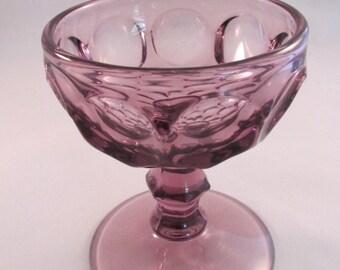 Vintage Amethyst Thumbprint Honeycomb Champagne Dessert  Glass 5 oz