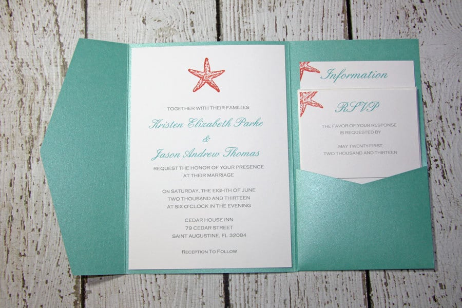 Teal Pocketfold Wedding Invitations Beach Wedding