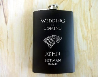 8 pcs. SET Wedding is Coming Personalized black matt 7 oz. FlaskGift for Him. Gift for Dad, Husband, Groom, Groomsmen. Game of Thrones