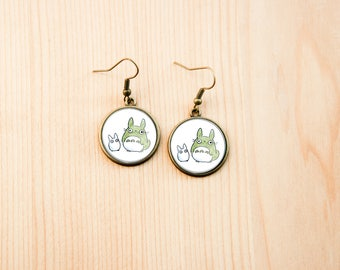 Totoro round earrings glass picture art present gift idea christmas birthday white green