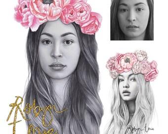 Custom portrait illustration , drawing from photograph