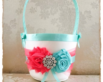 Coral and Aqua Flower Girl Basket