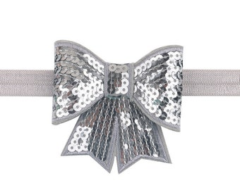 Gray Sequin Bow Headband ~ Bling ~ Pageant Headband ~ Photo Prop ~ Baby Headband ~ Girls Headband ~ Big Bow Headband ~ Sequin Bow Headband
