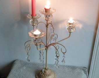 Candelabra with Glass Crystal Drops, Cream Toleware, Upcycled Vintage Shabby Candlestick,