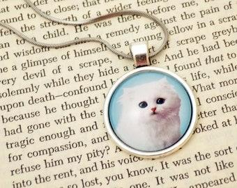 Emotionally Complicated Kitten - 25mm Round Pendant | Blue / Pink / Purple /Green
