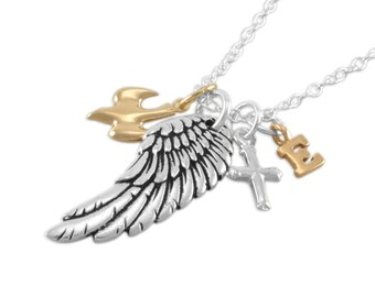 Angel Wing Necklace. Dove Memorial Jewelry. Personalized. letter. sympathy. remembrance. memory infant loss. Sterling silver. gold, EVERETT