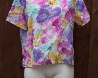 Pastel Floral Watercolour Blouse