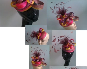 Sinamay Petite Fascinator adorned with Feathers Mount - Perfect for weddings / Ascot Races / Speacial Occasion