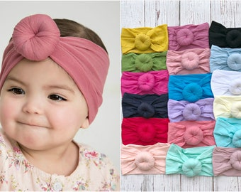 Baby turban Headband, Round Knot turban head wrap, Nylon headbands Head Wraps, Bun turban headband, one size fits all, baby girl headbands