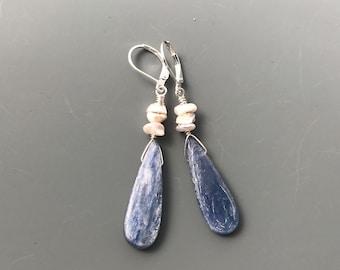 Blue Kyanite Pearl Earrings, Long Earrings, stone earrings,  blue stone earrings, Everyday Earrings, gemstone Earrings