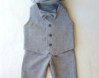 Ring Bearer Outfit, Baby Boy, Heather Gray, Gray Suit, Ring Bearer Outfit Grey, Toddler Suit, Baby Suit, Baby Wedding Outfit, Easter Outfit