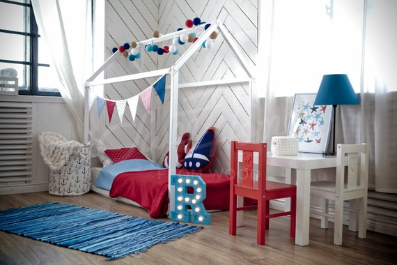 Kleinkind-Bett Weiß / Schwarz Haus Bett Zelt Bett