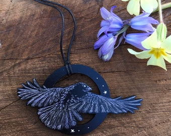 Spread your wings - crow pendant