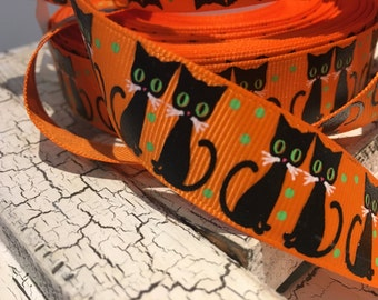 "7/8"" Black Halloween Cat Kitten on Orange grosgrain"