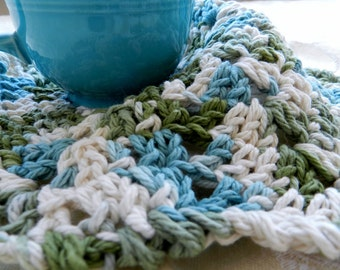 Crocheted Cotton Dishcloth, Round Dishrag, Green Blue and White, Handmade for Eco Friendly Kitchen Cleanup