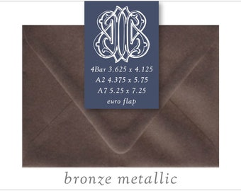 Bronze Metallic   10 Blank Euro Envelopes   A7 • A2 • RSVP