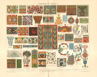 1904 Ornaments from Middle Ages, Byzantin, Roman, Gothic Original Antique Chromolithograph
