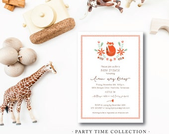 Little Fox Birthday Invitations