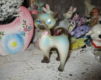 Vintage Siamese Cat Figurine-Roselane-California Pottery-Rhinestone Eyes