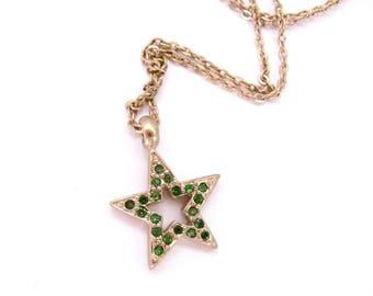 Vintage Star Necklace Pendant Minimal Goldtone Green Rhinestone Pendant Dainty Petite Gift for Teen Tween Woman Star Charm Pendant