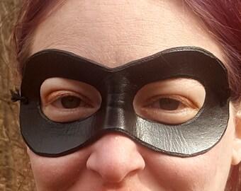 Black Domino Mask - Round Edged Molded Leather Mask - Superhero Costume