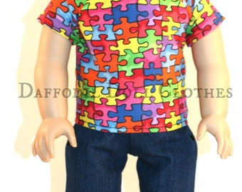 Autism Awareness, 18 Inch Boy Doll, American Doll Boy, 18 inch Doll Clothes, Boy Doll Clothes