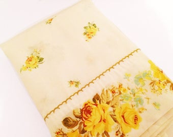 vintage full flat sheet // 1950's yellow roses // 50's romantic bedroom bedding
