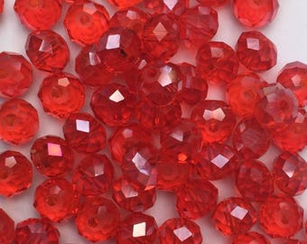 35 x electroplate glass AB 8mm abacus red beads