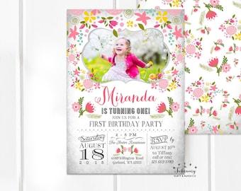 Floral Birthday Invitation for Girl, Girl Birthday Invitation, Photo Birthday Invitations for Girls Printable OR Printed No.842KIDS