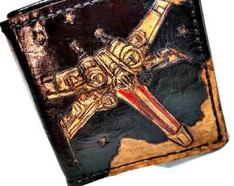 Star Wars Gift - Star Wars Wallet, X-Wing Wallet - Geek Gift - Nerd Gift - Husband Gift - Dad Gift. holds 12 cards and has 2 bill slots.