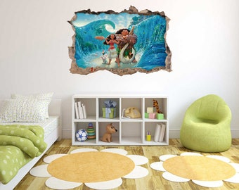 Moana - 3D Smashed Wall Effect -  Wall Decal For Home Nursery  Decoration
