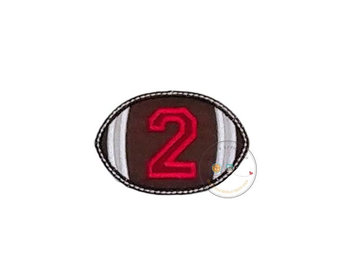 Football with block numbers iron on appliques