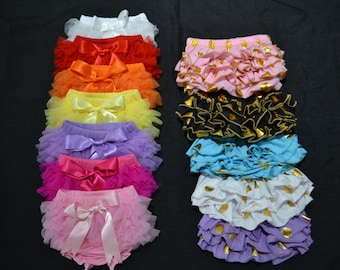 Ruffled bottom bloomers in a wide variety of color options! Soft chiffon ruffles or metallic gold dots.