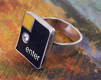 SALE - Computer Key Jewelry - One of a Kinds - Enter Key with Resin and CZ - Size 7.5