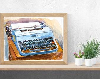 Vintage typewriter watercolor, Vintage Olivetti Typewriter Art Print Gift for Writer, Painting by Gwen Meyerson