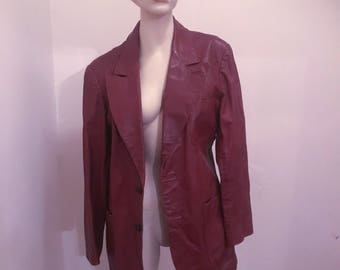 Vntg Nordstrom Brown Leather Jacket w/ Torn Pocket