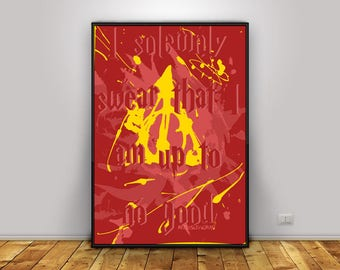 Mischief Managed - Harry Potter Poster - 4 Houses