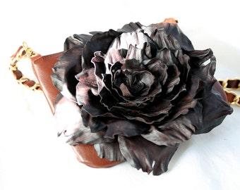 Brown Leather Flower Cross Body Purse art. 340