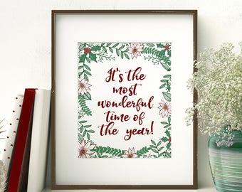 Its The Most Wonderful Time of The Year digital print | Christmas printable art | Holiday Wall Decor | Christmas greenery art print