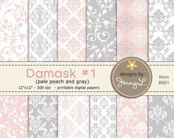50% OFF Damask Wedding Baptismal Peach Gray Background Papers for Digi-Scrapping, Cards, Invitations INSTANT DOWNLOAD Personal and Commercia
