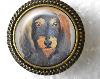 Wirehair Dachshund Ring ~ April Birthday  ~ Bronze Dog Ring ~  Doxie Owner Gift ~ Pet Keepsake ~ Gifts for Her