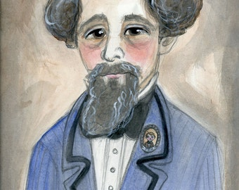 Charles Dickens, Literary Art Print, Victorian, Writers Portrait illustration, Watercolor Painting (6x8) Gothic Home Decor
