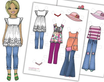 Printable Paper Doll Package-Digital Paper Doll-Gift for Kids-PDF Instant Download-Coloring Page