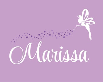 Fairy wall decal, personalized name, fairy wall sticker, nursery wall decals, fairy decal, name decal, pixie and stars, vinyl fairy decal